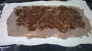pastry, liver and mushroom and onions
